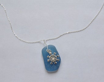 "Sterling Silver Sea Beach Glass Pendant Necklace - Icy Blue English Seaglass - Lovely Snowflake Charm - 18"" Chain - Winter Snow"