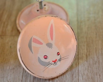 2 Amerock Tin Drawer Pulls Storybook Knobs Story Book Knobs Pink Bunny 1950s Children's Kids' Child's Room Fixture Finding Nursery Decor APV