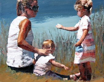 Limited edition print, modern art, impressionist painting, photo paper print, wall art print, mother and daughter, 'Beachside VII'.