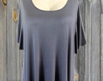 Plus Size Women's Clothing | Tunic Top w/ Hanky Hem | Short Sleeve | Big Sizes for Generous Women
