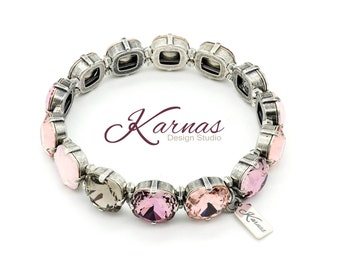 THE VINTAGE LOOK 12mm Crystal Cushion Stretch Bracelet Made With Swarovski Elements *Pick Your Finish *Karnas Design Studio *Free Shipping