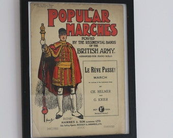 SALE British Poster Piano Music Popular Marches Le Reve Passe British Army