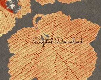 Maple Leaf Placemat Pattern, Vintage 1980's Crochet Pattern, Boho, Kitchen Set, Coaster, Tablemat, Kitchen Crochet, Digital Download, PDF