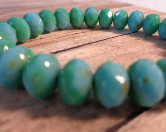 12 Beautiful Turquoise Czech Glass Beads Green Turquoise Baby Blue with Green Mix Opaque Czech Pressed Glass Rondelle Milky Picasso Finish