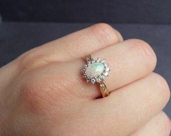 Opal Engagement Ring in White or Yellow Gold