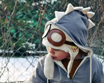 Kids Jacket DINOSAUR Ivory White Gray.Dragon Hoodie.Dinosaur Hoodie.Dinosaur Sweatshirt. Dinosaur Costume.Dress Up.Handmade Toddler Clothes