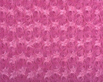 Shannon Fabrics Rose Cuddle® Raspberry. Rose Minky Fabric. Fat Quarter FQ minky. Raspberry Pink. Sewing gift idea. Pink Rose Fabric.