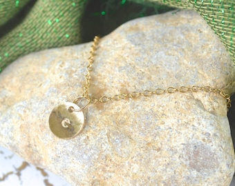 Irish Font- One Gold-filled Custom Tiny Initial  Necklace: Smooth, or Hammered Initial Charm with Birthstone