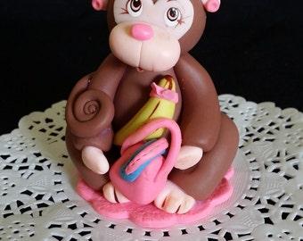 Monkey Cake Topper, Monkey Birthday Decoration, Baby Shower Monkey Cake Topper, Jungle Birthday Decoration, Monkey Birthday Parties, Jungle