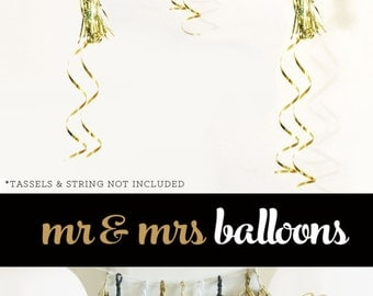 Mr and Mrs Balloons - Engagement Balloons Engagment Party Decorations -  White and Gold Wedding Photo Prop (EB3110MRS) - SET of 3 Balloons