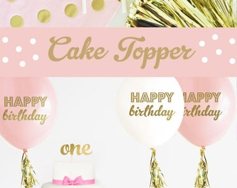 ONE Cake Topper - 1st Birthday Cake Topper - First Birthday Cake Topper - Smash Cake Topper - Pink and Gold Birthday Cake Topper (EB3116)