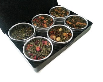 ORGANIC green teas, get well gift, tea kit, best friend birthday, loose leaf teas, for mom, tea sampler, tea lover, tea bags, black gift box