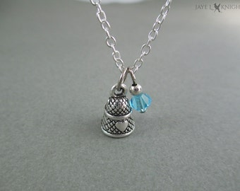 Thimble Charm Necklace - Sewing Necklace - Seamstress Gift - Silver