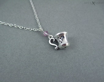 Tea Cup Charm Necklace with Your Choice of Color - Writer Gift