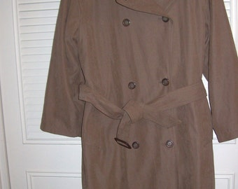 Vintage London Fog Trenchcoat Taupe/Cocoa MAXI Size 12 All Features ! Winter Lining !