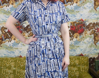 40s Novelty Print Dress | Novelty Print | 40s Dress | Vintage Dress | 40s Day Dress | 40s Cotton Dress | 40s 2X Dress | 40s Sun Dress