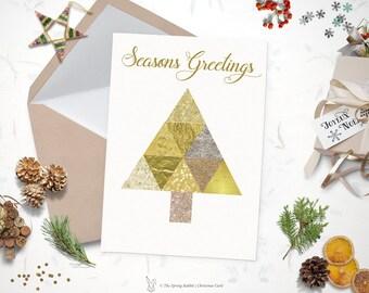 Printable watercolor christmas card holiday card 5 x7 do printable gold foil christmas tree holiday card christmas card 5 x7 do it solutioingenieria Gallery