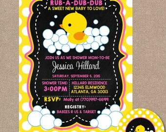 Rubber Duck Baby Shower Invitation, Rubber Ducky Baby Shower, Rubber Duckie, Baby Shower Invitation, Chalkboard, Pink, Girl, #0015