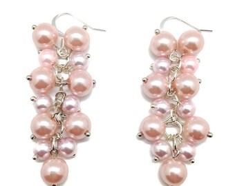 Pink Pearl Earrings, Pearl Cluster, Earrings, Cluster Earrings, Pearl Earrings, Bridal Earrings, Pink Earrings, Long Earrings, Pearl Dangles