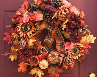 Fall wreath, Autumn wreath, Thanksgiving wreaths,  Holidays decor, Halloween decor, Fall decor, Autumn decor, Thanksgiving wreaths