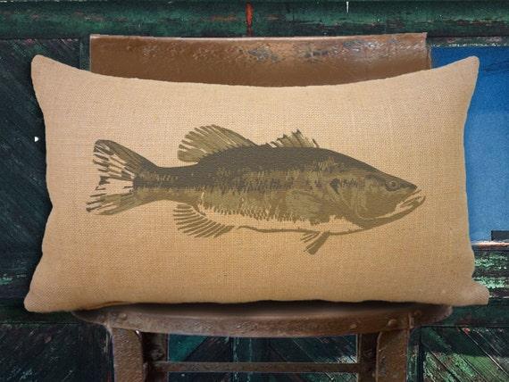Bass burlap pillow cabin decor wildlife art man cave for Fishing decor for man cave