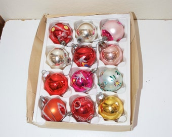 "Vintage Christmas Glass Ball Ornaments Box Set 1.5"" Pink Red"