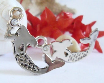 Mermaid Charm,Mermiad Earring Charms,Sea Charms,Beach Charms,Bracelet Charms,Mermaid with rhinestone,