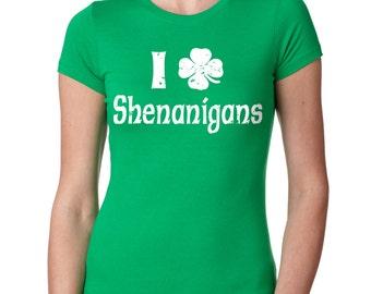 Woman Top Saint Patrick's Day Shenanigans Clover Shamrock Green T-Shirt