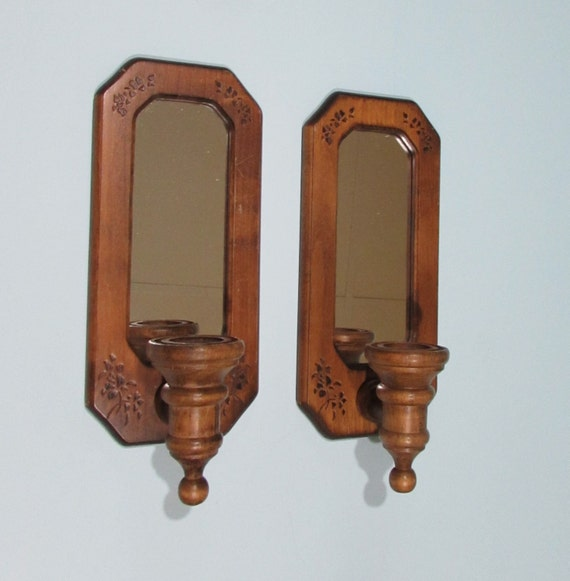 Wooden Wall Sconces with Mirror Set of 2 Rustic Cottage