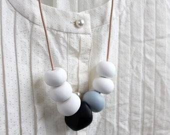 White, Black & Blue - Polymer Clay Bead Necklace, Blue, White, Multi-coloured, Long Necklace