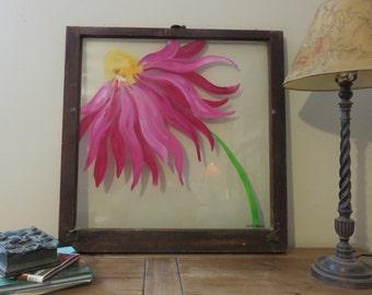 Hand Painted Window, Purple Flower, Flower Painting, Painted Window,Repurposed Window, Home Decor, Coneflower, Wall Decor
