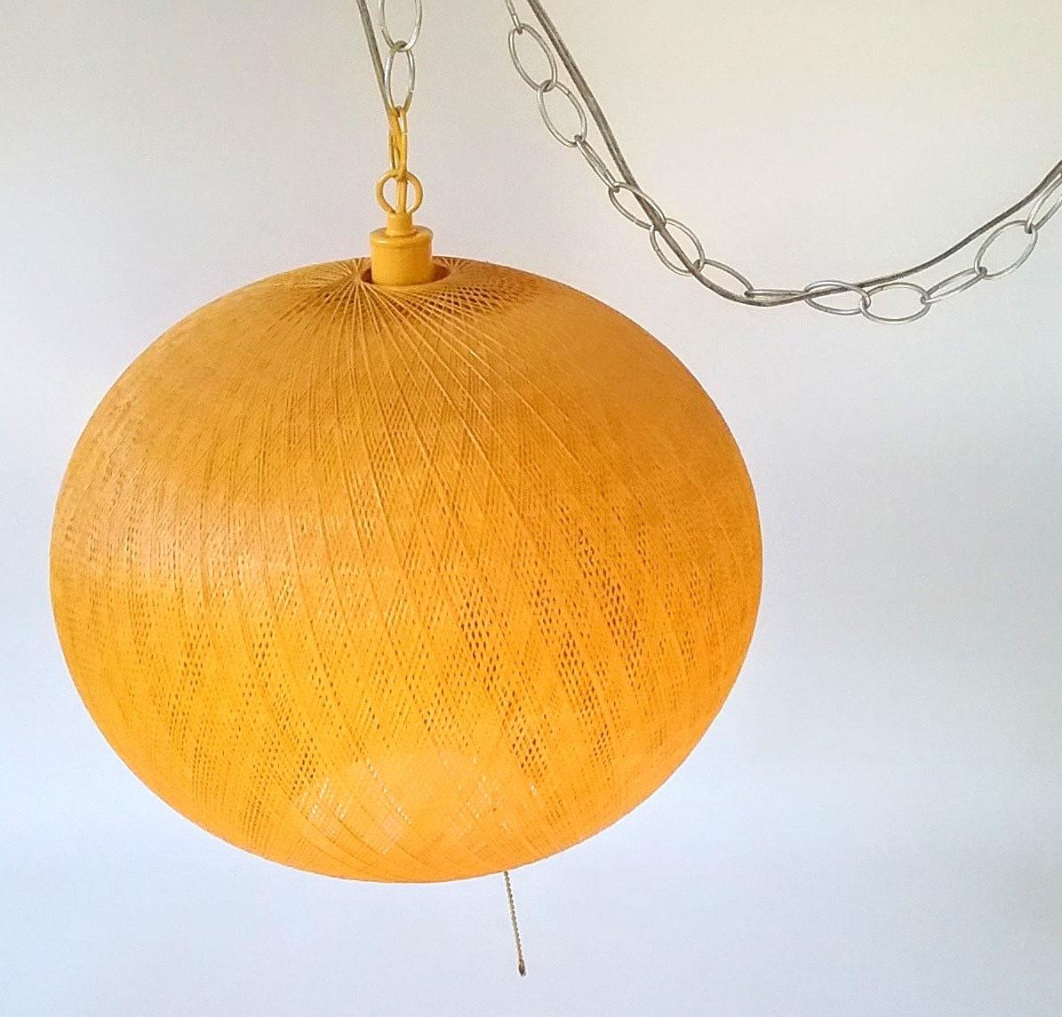Mid Century Orb Lamp: Spun Fiberglass Swag Lamp Globe Orb Mid Century Modern Light