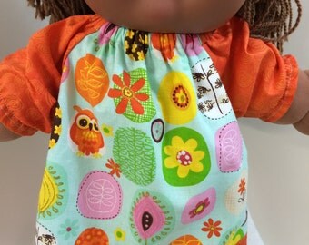 "Cabbage Patch 16 inch KIDS Doll Clothes, Colorful ""OWLS & FLOWERS"" Peasant Dress, 16"" CPKKids Doll, Nature is Beautiful - Leaves, Flowers!"