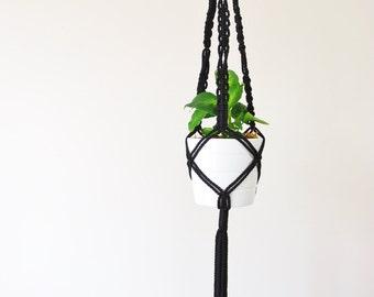 Macrame Hanging Planter // Macrame Plant hanger // Hanging Plant Holder // Black Plant Hanger // 50 Inch Long Hanging Planter // Style #5