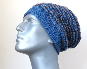Blue Wool Hat, Men's Baggy Hat, Chunky Winter Hat, Lambswool Slouchy Beanie, Men's Gifts