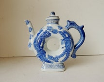 Chinese Blue and White Porcelain Teapot or Pitcher Donut Shape