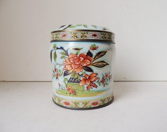 Tin Box Canister Red and Gold Peonies and Butterflies