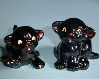 Pair Vintage Black Cat Miniature Planters Japan