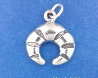 CROISSANT Charm, Bread, Pastry .925 Sterling Silver Charm