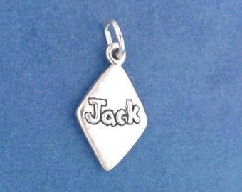 JACK Of DIAMONDS Charm, Playing Card Suit .925 Sterling Silver Charm