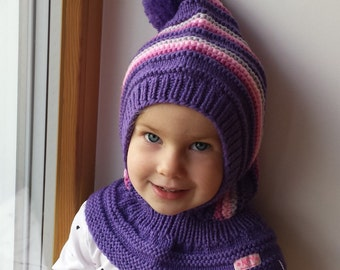 READY TO SHIP all sizes! Merino Pixie Balaclava Baby/ Toddler/ Girl Hoodie with Pom Pom, Purple Hat with Neckwarmer.