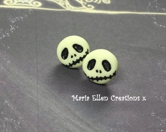 Jack Skellington The Nightmare Before Christmas earrings, Jack Skellington jewelry, halloween earrings, glow in the dark jewelry, polymer