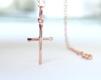 Rose Gold cross necklace Cross charm  Rose gold cross pendant Dainty cross necklace simple necklace Religious jewelry Layering necklace