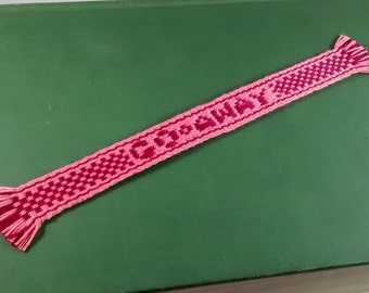 Bookmark - Handwoven inkle band with a message - GO AWAY