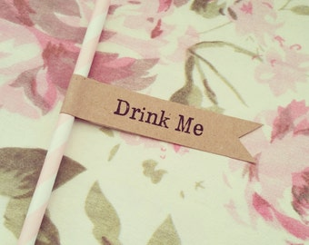 16 Paper Straws with Kraft 'Drink Me' Flags - Wedding, Engagement, Party
