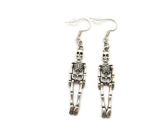 Skeleton  Earrings Anatomy Earrings Halloween Earrings Skeleton Jewelry Silver Skeleton Earrings Halloween Everyday Halloween Jewelry
