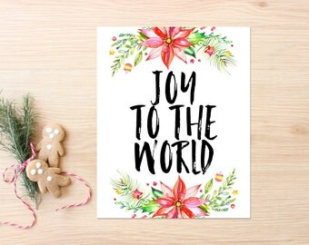 Christmas Printable Art Print 8x10, Watercolor Joy To The World Christmas Print, Christmas Decor, Holiday Decoration, Instant Download