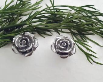 Earrings, Silver linings, rose, stud earrings, post earrings, resin flower earrings, hypoallergenic, for sensitive ears