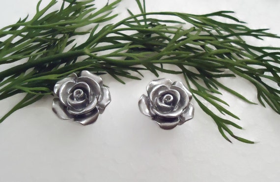 Earrings, #makeforgood, Silver linings rose, stud earrings, post earrings, resin flower earrings, hypoallergenic, for sensitive ears