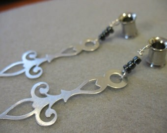 """Gauged Simple Silver Clock Hand Earrings for 0g, 00g, and 1/2"""""""